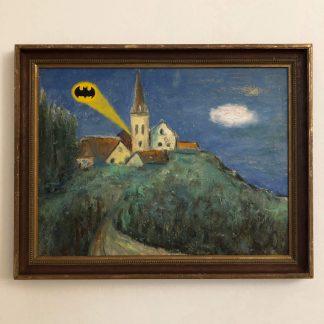 Gemälde mit Comic Art: Kapelle am Berg wird Gotham City