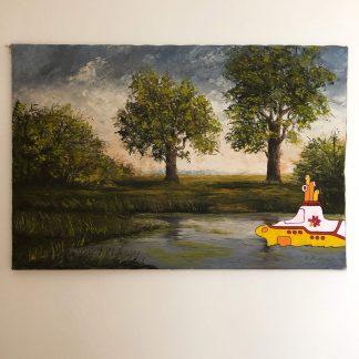 Gemälde mit Comic Art: Teichlandschaft mit Yellow Submarine
