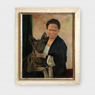 Ölgemälde von Liesl Kinzel Frau mit Schäferhund
