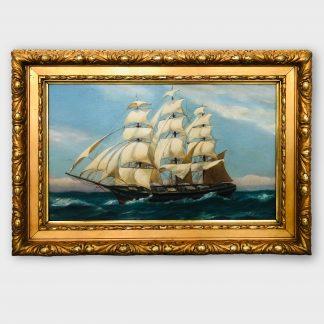 Ölgemälde Vollschiff auf See im goldenen Rahmen