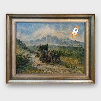 Gemälde mit Comic Art Esel in Berglandschaft mit Rakete aus dem All