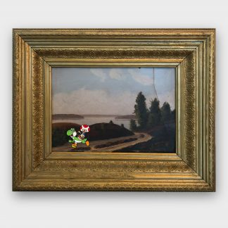 Gemälde mit Comic Art Seenlandschaft mit Yoshi und Toad