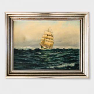 Ölgemälde von Gerhard Geidler mit Großsegler auf See