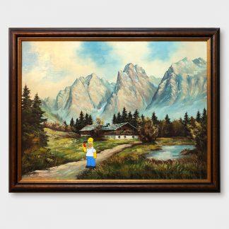Ölgemälde Comic Art Alpenlandschaft mit Homer Simpson