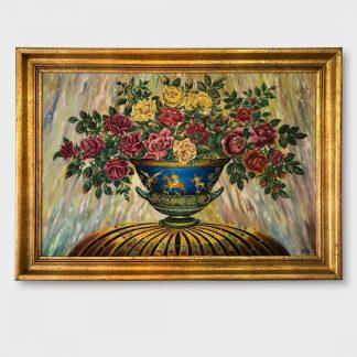 Ölgemälde Stillleben Rosen in blauer Schale