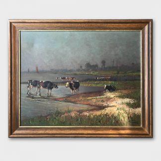 Ölgemälde: Hans Bauer - Kühe am Boddenufer