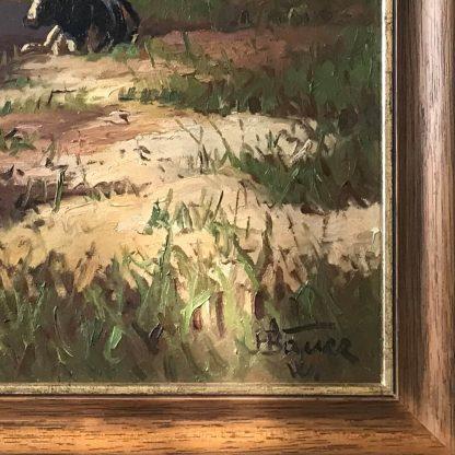 Ölgemälde: Hans Bauer - Kühe am Boddenufer Signatur