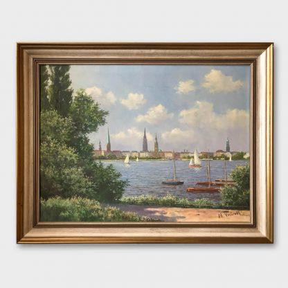 Ölgemälde: Hans Porwoll - Binnenalster Hamburg