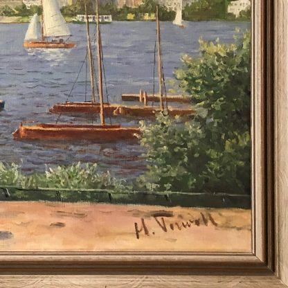 Ölgemälde: Hans Porwoll - Binnenalster Hamburg Signatur