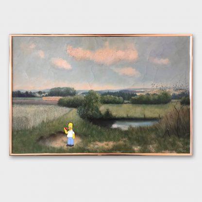 Gemälde mit Comic Art: Landschaft mit Homer Simpson