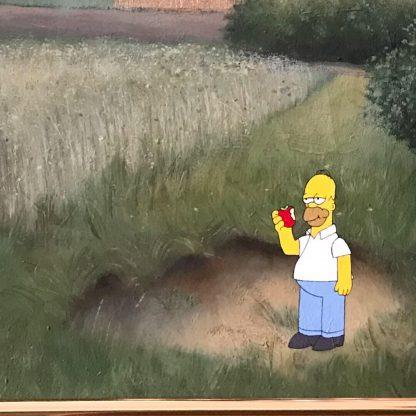 Gemälde mit Comic Art: Landschaft mit Homer Simpson Detail