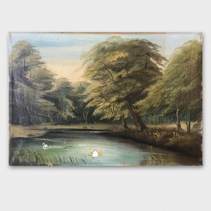 Gemälde mit Comic Art: Waldlandschaft mit Donald Duck