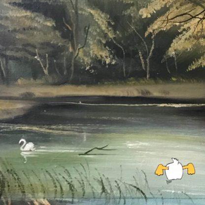 Gemälde mit Comic Art: Waldlandschaft mit Donald Duck Detail