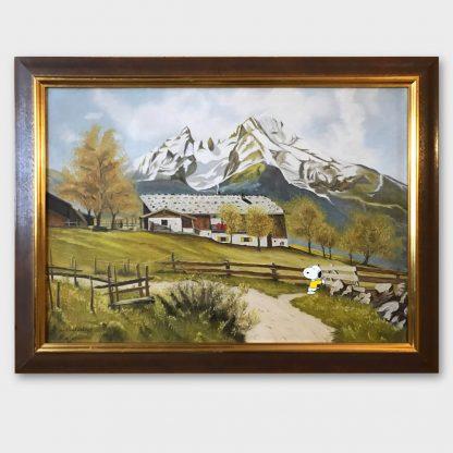 Gemälde mit Comic Art: Berglandschaft mit Snoopy