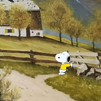 Gemälde mit Comic Art: Berglandschaft mit Snoopy Detail