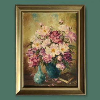Ölgemälde Blumenstillleben Rosa Strauss in 2 Vasen