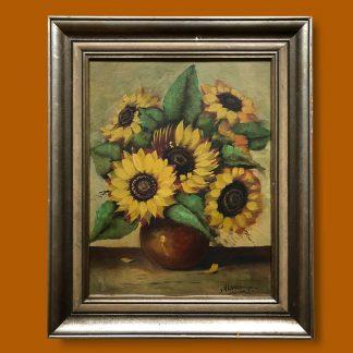 Ölgemälde Blumenstillleben Sonnenblumen in Vase mit Rahmen
