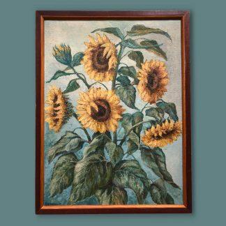 Ölgemälde Blumenstillleben von Heumann Sonnenblumen