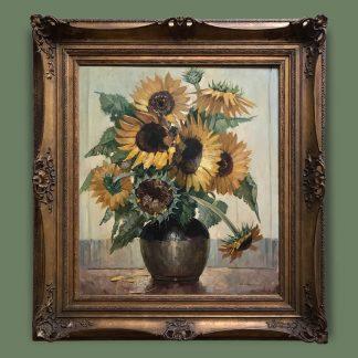 Ölgemälde Blumenstillleben Clausmeyer Sonnenblumenstrauß in der Vase