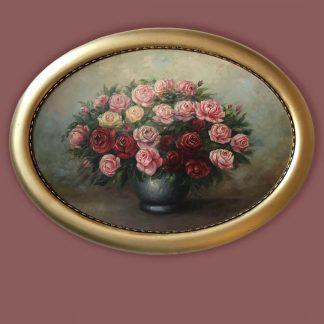 Ölgemälde Rosenstillleben Blumen in Vase mit ovalem Rahmen