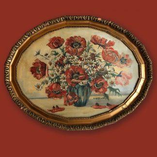 Ölgemälde Blumenstillleben Roter Mohn in Case Ovaler Rahmen