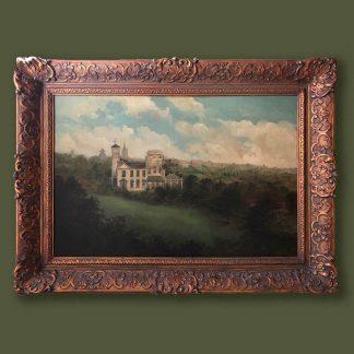 Ölgemälde Landschaft romantische Villa im Prunkrahmen
