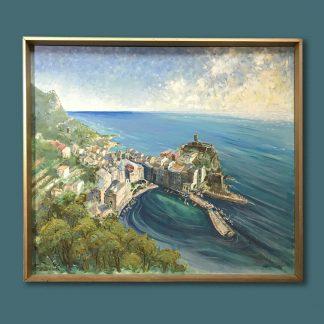 Ölgemälde Hans Kricks Maritim Südliche Meeresküste mit Ansiedlung