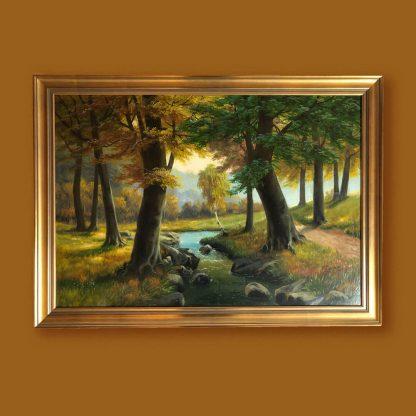 Ölgemälde Landschaft Lansing Buchenwald mit Bach