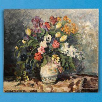 Ölgemälde Blumensttillleben Sommerblumen in der Vase