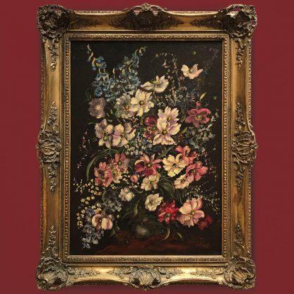 Ölgemälde Blumenstillleben Sommerblumen Bouquet im Prunkrahmen