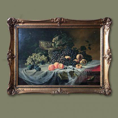 Ölgemälde Kopie R. Rath Stillleben mit Pfirsichen und Weintrauben