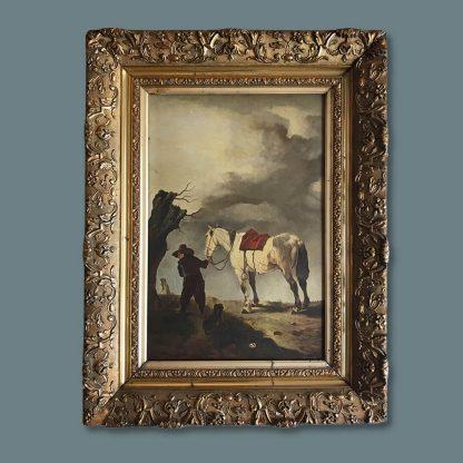 Ölgemälde Wentik Mann mit seinem Hund und Schimmel