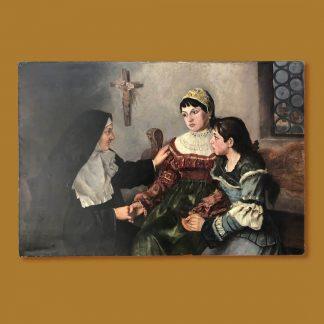 Ölgemälde Genremalerei Mädchen im Kloster mit Nonne