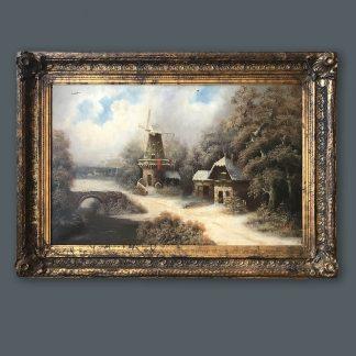 Ölgemälde Alberti Winterlandschaft mit Windmühle im Prunkrahmen