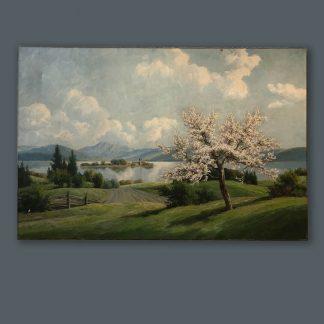Ölgemälde Alexander Reinhardt Baumblüte am See ohne Rahmen