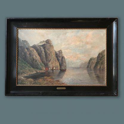 Ölgemälde Fjordlandschaft mit Dampfschiff von Molena